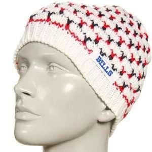Bills Ladies White Cable Knit Ski Bunny Beanie