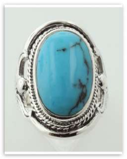 Antique Style Large Turquoise Ring Sterling Silver Sz 7