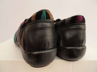 BN Auth Sonia Rykiel Black Strip Leather Velour Sneakers Shoes UK4 5 6