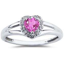 10k White Gold Pink Topaz and Diamond Heart Ring