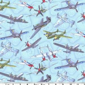45 Wide Timeless Treasures Fighter Jets Blue Fabric By