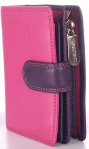 Visconti Multi Colored Soft Leather Pink Ladies/Girls Wallet Purse