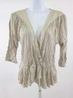 DEVELOPMENT Tan 3/4 Sleeve V neck Top Blouse Shirt Sz S