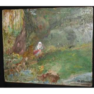 Bulgarian Impressionist Art, Antique Landscape Forest Oil Painting