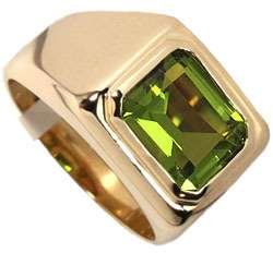 Mens Simulated Peridot Solitaire 18kt Gold Plated Ring