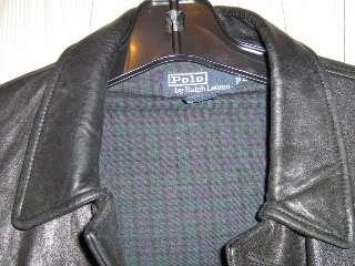 Mens Polo Ralph Lauren Black Leather Coat Size L
