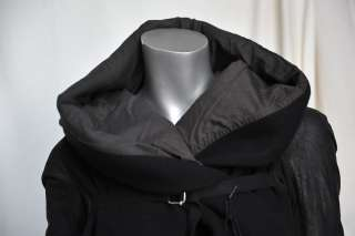 RICK OWENS Black STAG Hooded LONG Wool+Leather Heavy Coat Jacket 6/40