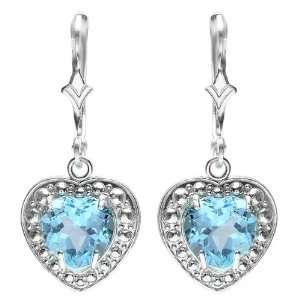 2.00 CT Real Heart Shape Genuine Blue Topaz 925 Sterling