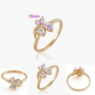 Pretty 9K Yellow Gold Filled 4mm Heart shaped CZ Rings Size 8 R310