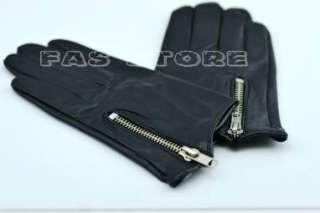 Cool side zipper style soft real leather gloves*black