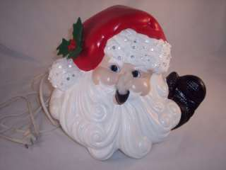Ceramic Christmas Santa Claus Bust Lighted Lights Holiday Statue VTG