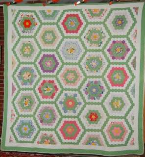 30s Vintage Grandmothers Flower Garden Hand Stitched Antique Quilt