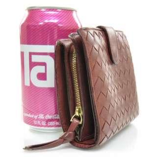 BOTTEGA VENETA Woven Leather Wallet Coin Purse Pink
