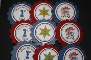 Lil Cowboy Cowgirl Cupcake Toppers Favor Tags