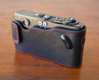 Mr.Zhou Black Leather Half Case Red Stitching for Leica M5 Camera w 2