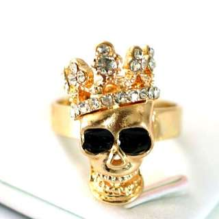 Crown Skull Gold plating Diamante Zircon CZ Adjustable Ring