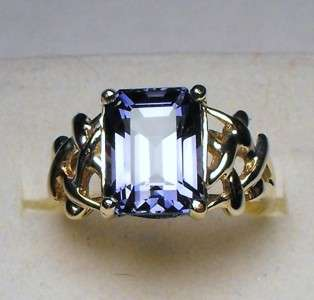 20cts EMERALD CUT CEYLON SAPPHIRE SOLID YELLOW GOLD RING