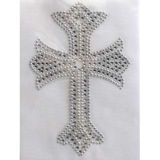 Rhinestone Iron on Transfer Hot fix Design Silver Cross