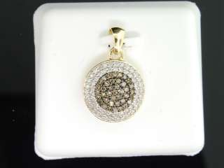 GOLD CHOCOLATE BROWN DIAMOND CIRCLE PENDANT CHARM FOR NECKLACE
