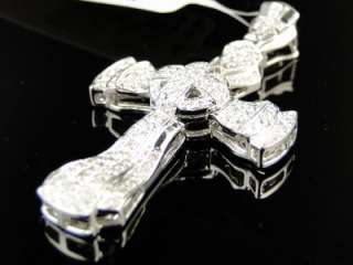 14K MENS LADIES WHITE GOLD CURVED DIAMOND CROSS PENDANT 1.1 CT
