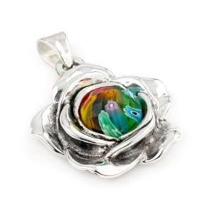 Millefiori Multi Color Faceted Small Flower Pendant With Electroform