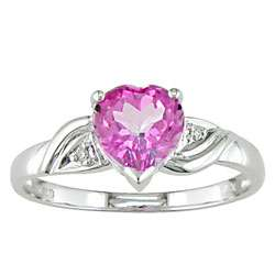 10 kt. White Gold Diamond and Pink Topaz Ring