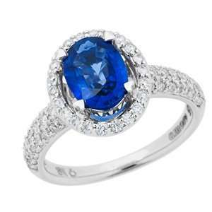 1.84 Carat 18kt White Gold Sapphire and Diamond Ring