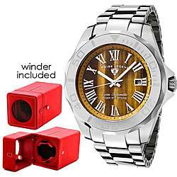 Swiss Legend Mens Tiger Eye Stone Dial Tungsten Watch with Winder