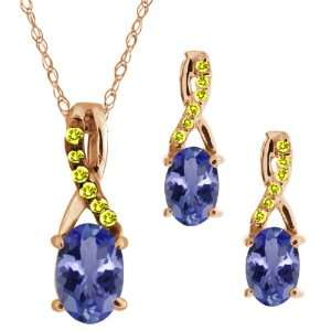 1.46 Ct Oval Blue Tanzanite Gold Plated Silver Pendant