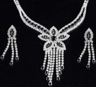 Bridal Wedding Party Jewelry Black&White Crystal Korean Flower