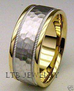 14K MENS TWO TONE GOLD WEDDING BAND RING HAMMERED 7MM