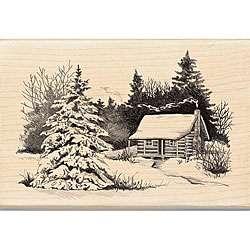 Inkadinkado Snowy Cabin Wood mounted Rubber Stamp