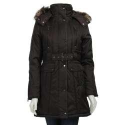 Steve Madden Womens Oxford Faux Fur trimmed Coat