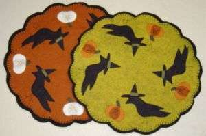 Primitive Crow Witch Penny Rug/Candle Mat Pattern
