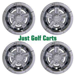 Chrome Finish 8 Snap On Golf Cart Wheel Covers/Set of 4/