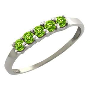 0.35 Ct Round Green Peridot 14k White Gold Ring Jewelry
