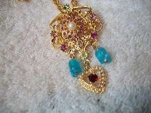 RJ GRAZIANO Necklace/Pin Colorful CRYSTAL HEART Great
