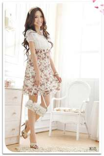 Womens Stylish Chiffon Tunic Mini Short Sleeve Dresses 3 Colors