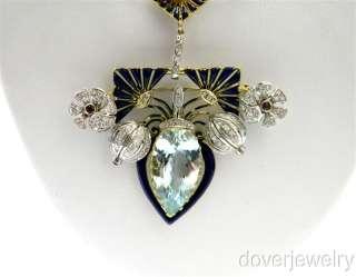Nouveau 14.53ct Diamond 18K Gold Ruby Aquamarine Enamel Pin Pendant NR