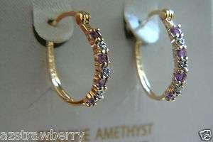 Sterling Silver 925 genuine Amethyst diamond hoop earrings NEW box