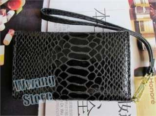 Snake Skin Leather Wallet Card Bag W/Strap Flip Case Cover For iPhone