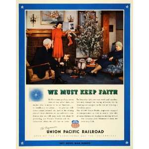 1943 Ad Union Pacific Railroad Christmas Wartime Tree
