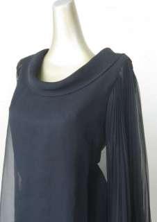VTG 60s MOD BLACK SHEER CHIFFON*PLEATED ANGEL SLEEVE DRESS*M/L