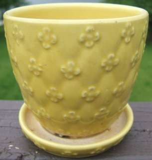 Vintage Yellow Planter Raised Flower Design USA 454