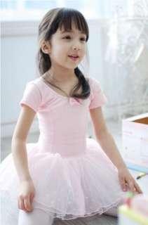Girl New Party Leotard Ballet Tutu Costume Dance Skirt Short Sleeve