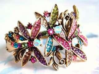 multi color crystal 4 dragonfly bracelet B01107