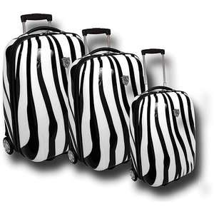 Print Collection 3 Piece Hard Side Luggage Set, Zebra Print Luggage
