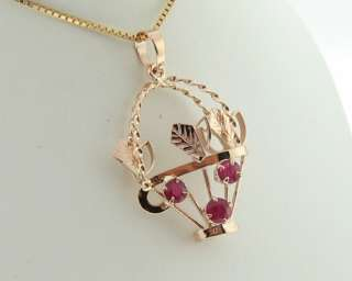 Estate Natural Ruby Solid 14k Rose Gold Basket Pendant