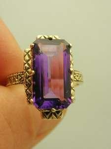 10K YG Amethyst Emerald Cut Antique Style Ring