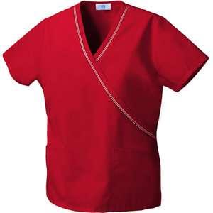 Classic Red Ribbon Trim Mock Wrap Top Home Medical